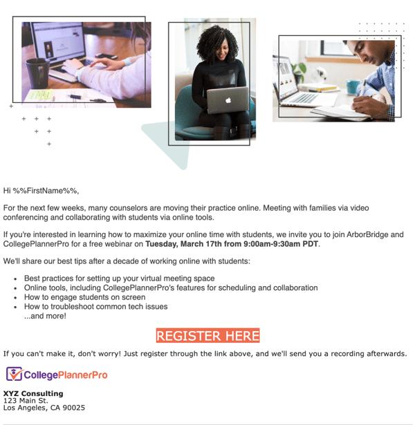 Webinar Invite Example