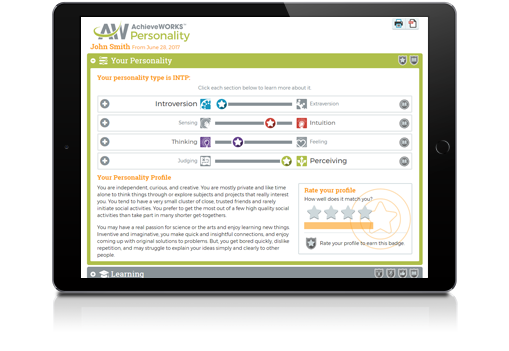 AchieveWORKS Personality Assessment Report on an iPad